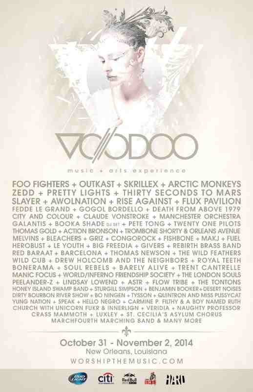 VOODOO MUSIC ARTS EXPERIENCE ANNOUNCES 2014 LINE-UP WITH HEADLINERS FOO FIGHTERS, OUTKAST, SKRILLEX AND ARCTIC MONKEYS. (PRNewsFoto/Live Nation Entertainment)